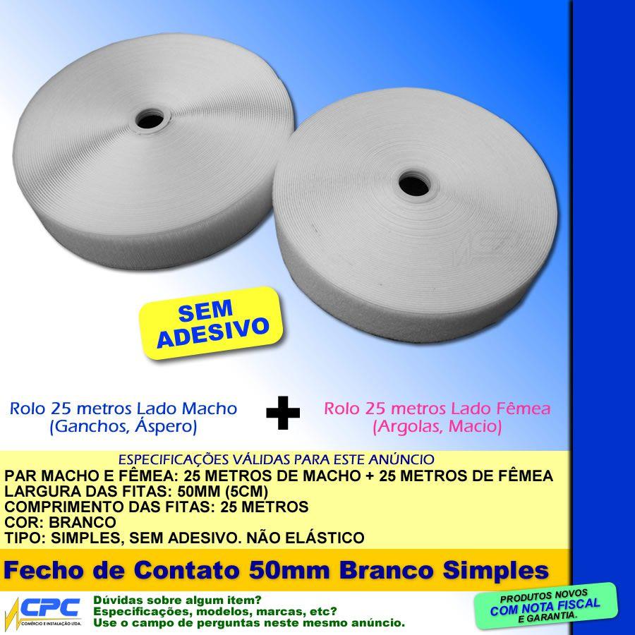 Fecho de Contato Simples Par Macho Fêmea Branco 50mm x 25m
