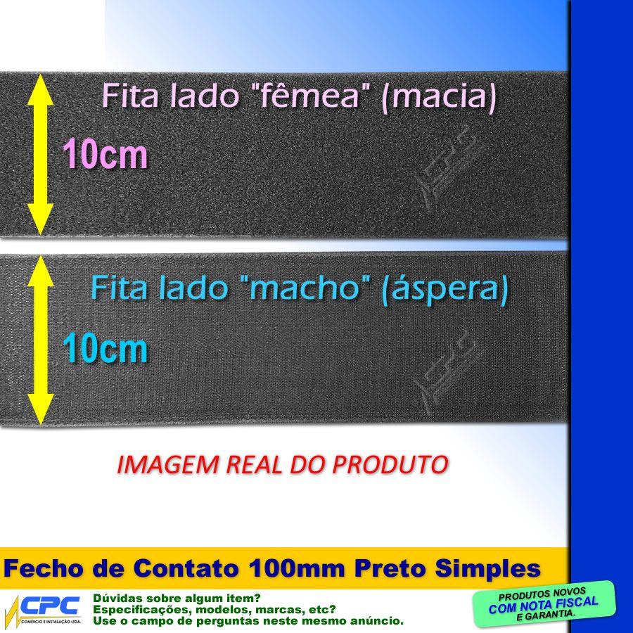 Fecho de Contato Simples Par Macho Fêmea Preto 100mm x 25m