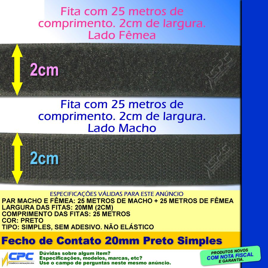 Fecho de Contato Simples Par Macho Fêmea Preto 20mm x 25m