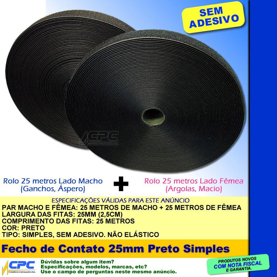 Fecho de Contato Simples Par Macho Fêmea Preto 25mm x 25m