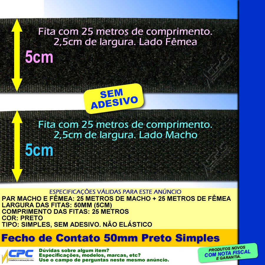 Fecho de Contato Simples Par Macho Fêmea Preto 50mm x 25m