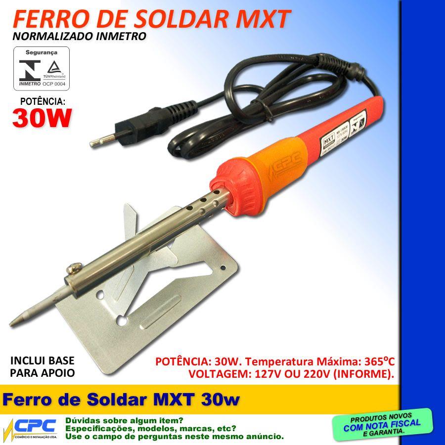 Ferro de Soldar 30w 220v MXT com INMETRO