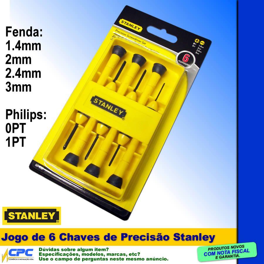 Jogo De Chaves De Precisão Philips E Fenda 6 Chaves Stanley