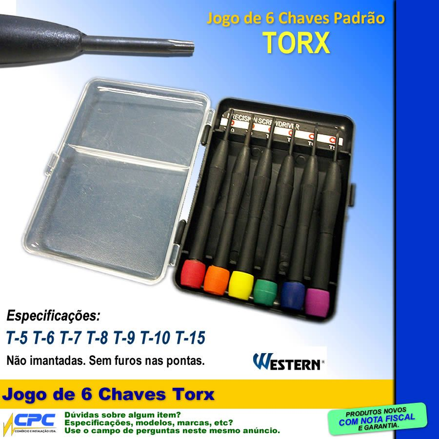 Jogo De Chaves Torx 6 Chaves T5 T6 T7 T8 T9 T10 Western