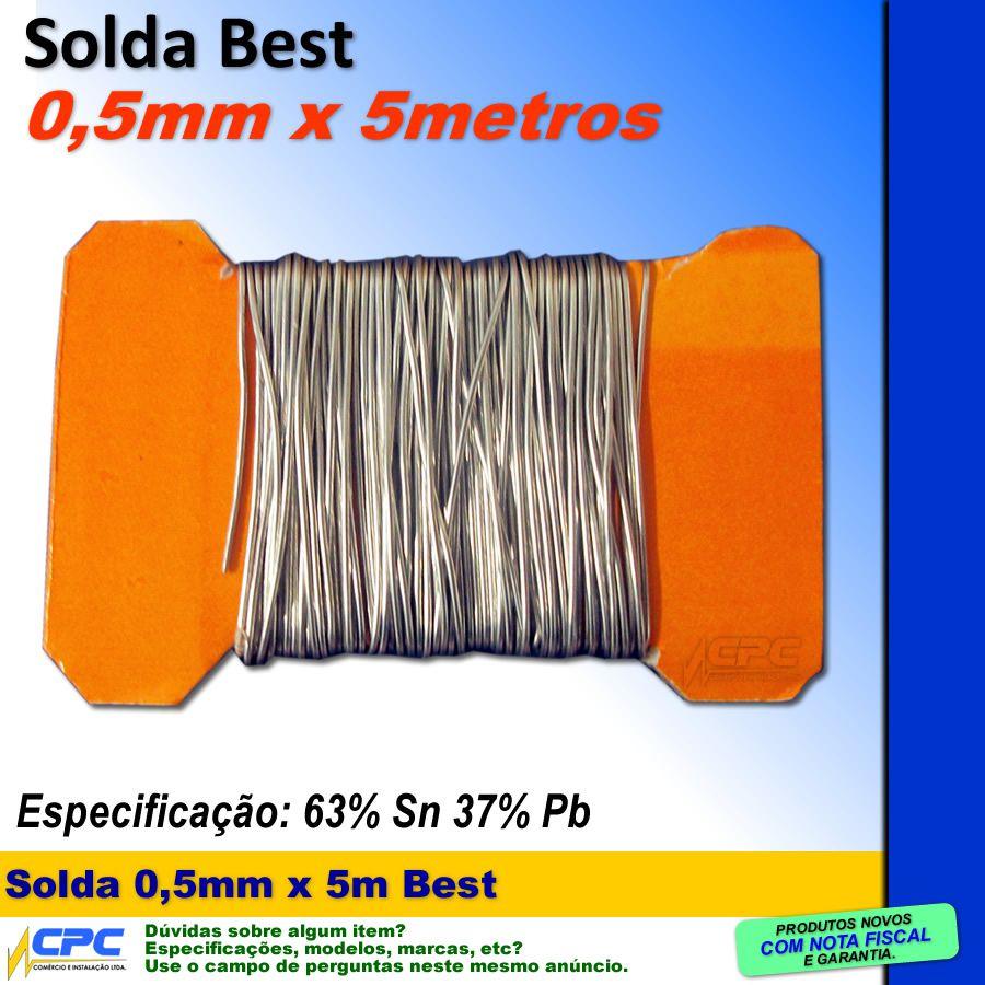 Kit Estanho em Fio 0,5mm x 5 metros Solda Best e Pasta Implastec