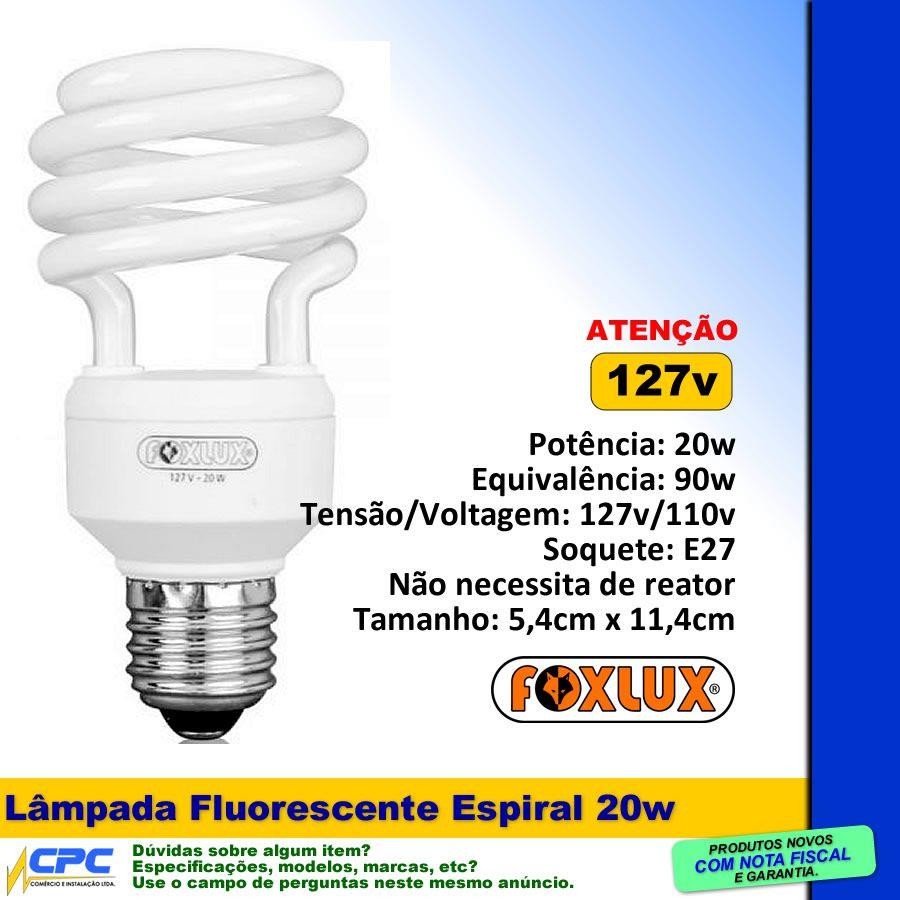 Lâmpada Fluorescente Compacta Espiral 20w 127v Foxlux