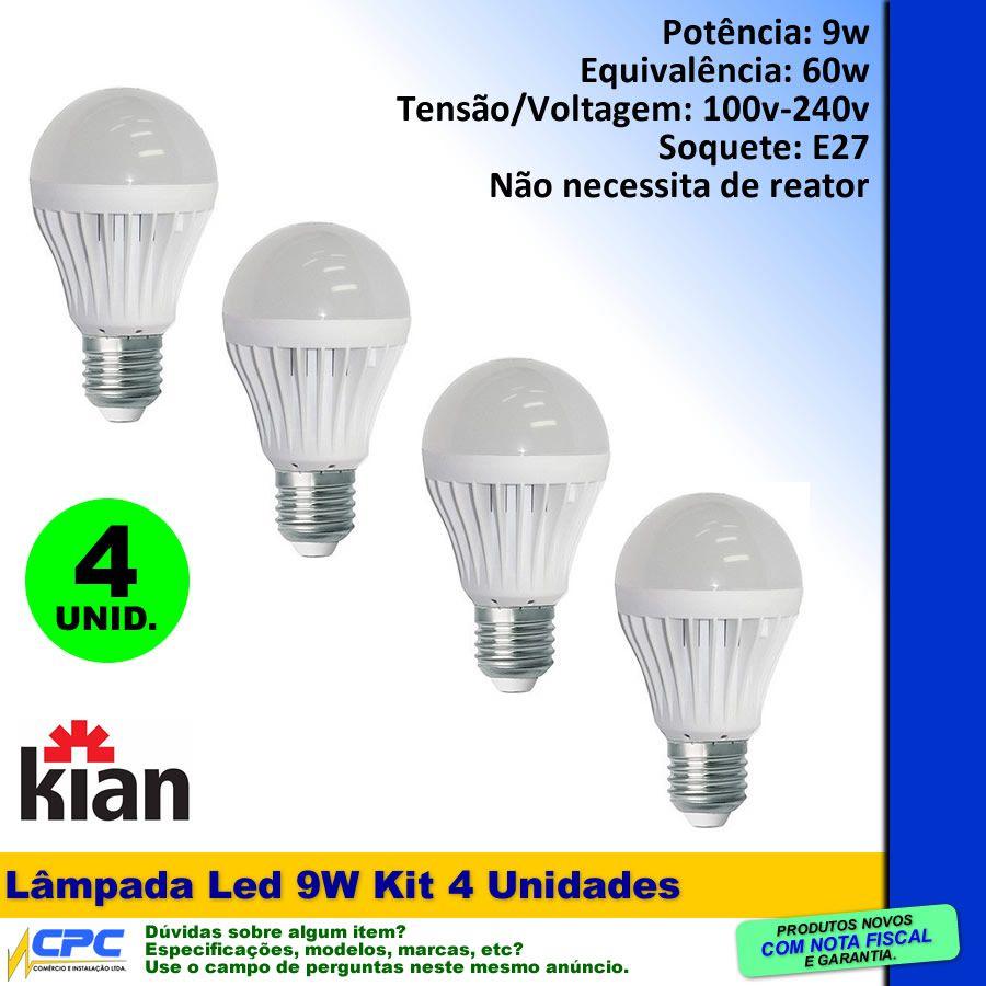 Lâmpada Led 9W Branca Kit com 4 Kian