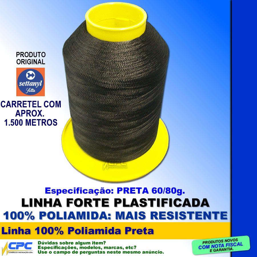 Linha de Nylon 100% Poliamida Settanyl Preta Kit com 10