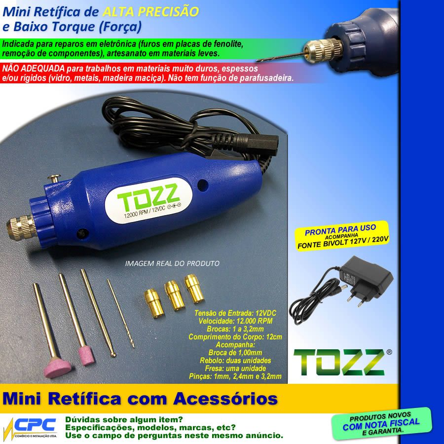 Mini Retífica com Fonte Bivolt e Acessórios Tozz
