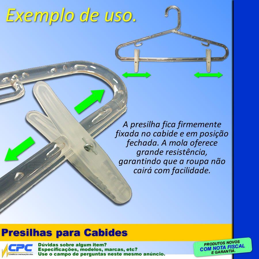 Presilha Para Cabides Com Mola Translúcida Kit 50 Unidades