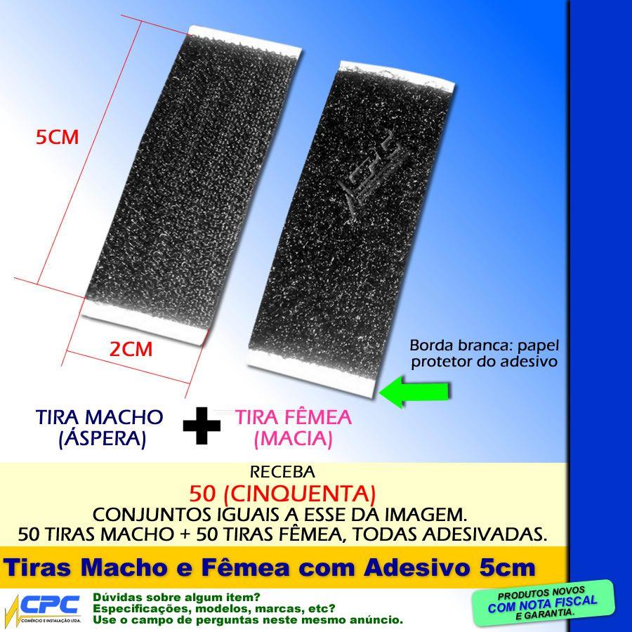 Tiras de Fecho de Contato Adesivo Macho e Fêmea Preto 5cm x 2cm