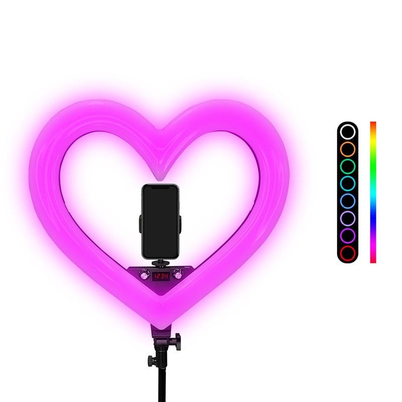 Iluminador Ring Ligth Anel Luz 48 cm Com Tripé Coração