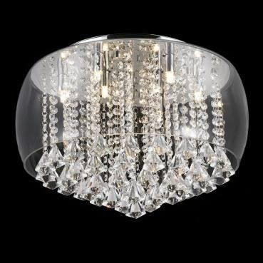 Plafon Cristal Com Vidro Transparente +luz 9l