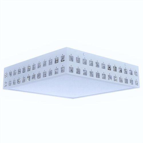 Lustre Plafon Cristal Quadrado Branco Interlux 250