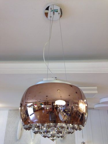 Lustre Pendente Plafon Vidro Cobre 40cm