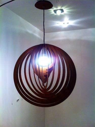 Pendente Madeira Rústico Mdf Design 3d