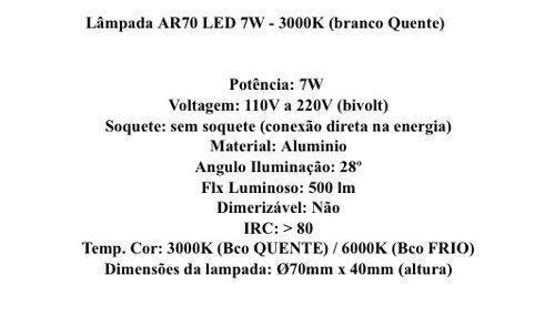 Lâmpada Led Ar70 7w Bivolt 3000k