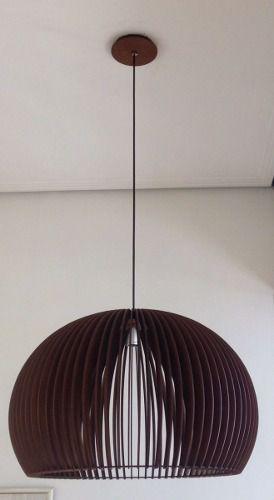 Lustre Pendente Madeira Mdf Imbuia 60cm Diametro