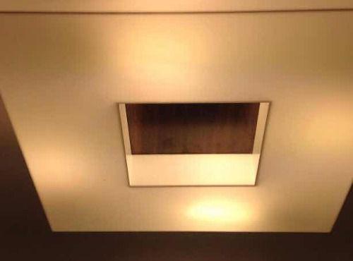 Plafon Madeira E Acrílico Quadrado 50x50 C/ Lamp. 9w Bq