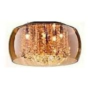 Luminária Plafon Cristal Vidro Ambar 40cm 5 Lampadas Bella