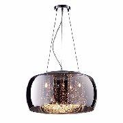 Pendente Vidro Fumê 286 Cristais Vidro 50cm C/ Lamp. Led Bq