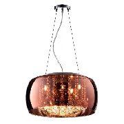 Pendente Plafon Cristal Vidro Cobre 40cm Bella C/ Lamp. Led