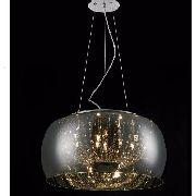 Lustre Pendente Vidro Cromado 50cm Com Cristais E Lamp.