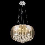 Pendente Vidro Ambar Com Cristal 50cm Mais Luz Com Lâmpadas