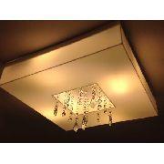 Plafon Acrilico Com Cristais 40x40 Para 4 Lâmpadas