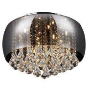 Plafon Cristal Vidro Cromado 9l +luz 50cm