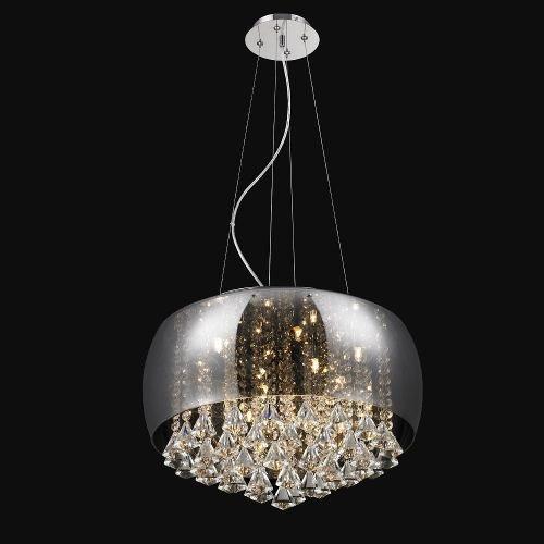 Lustre Pendente moderno vidro cromado 50cm +luz