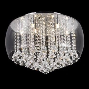 Pendente Vidro 50cm Transparente Com 513 Cristais E Lamp.