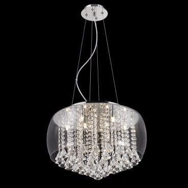 Pendente Vidro Transparente Com Cristal 50cm Mais Luz
