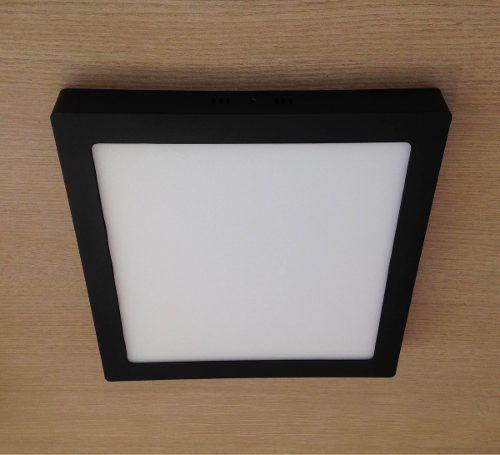 Luminária Led Quadrada Preta 24w 30x30 Branco Frio