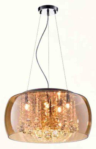 Plafon Pendente Cristal Vidro Champanhe 6l Bella 50cm C/lâmp