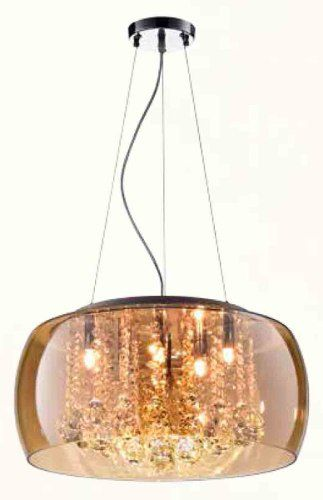 Lustre Pendente Cristal Vidro Champanhe 6l Bella 50cm C/lâmp