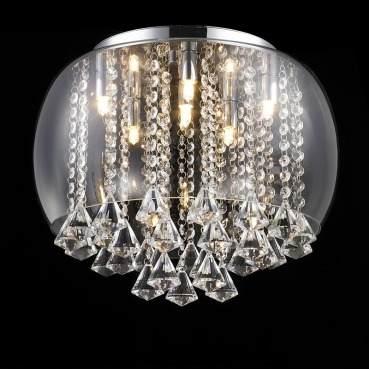 Plafon Cristal Vidro Transparente 40cm 6 Lampadas +luz