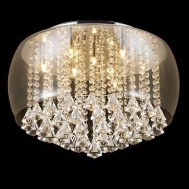 Lustre Pendente Moderno Vidro Cognac Com Cristal 50cm +luz