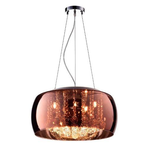 Pendente Plafon Cristal Vidro Cobre 50cm Bella C/ Lamp. Led