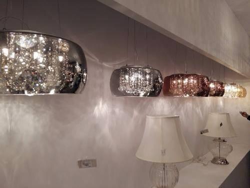Pendente Vidro Fumê Com Cristal 40cm Bella C/ Lamp