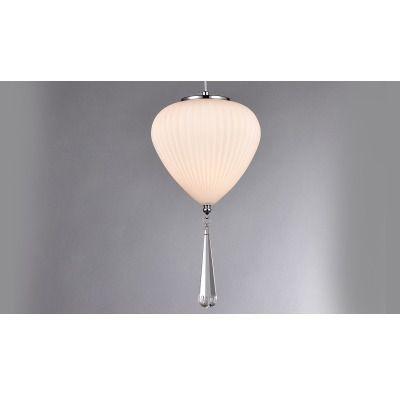 Pendente Balão Vidro Branco Com Cristal Se0641 Chandelie