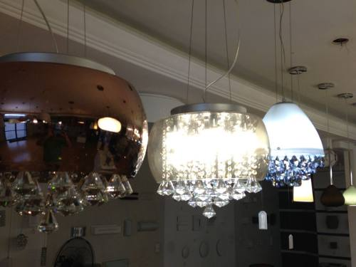 Pendente Vidro Ambar Com Cristal 40cm Mais Luz
