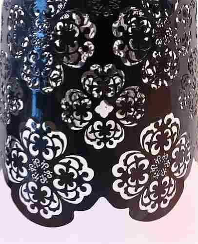 Pendente Cupula Metal Floral Preto Hevvy