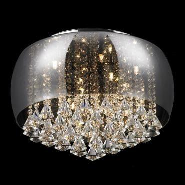 Luminaria Plafon Cristal Com Vidro Cromado +luz 9l