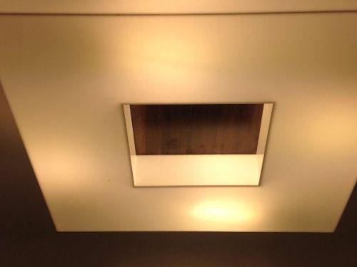 Plafon Madeira E Acrílico Quadrado 40x40 Para 4 Lampadas
