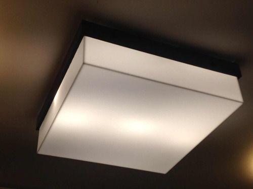 Plafon Acrílico E Madeira 20x20 Para 2 Lampadas