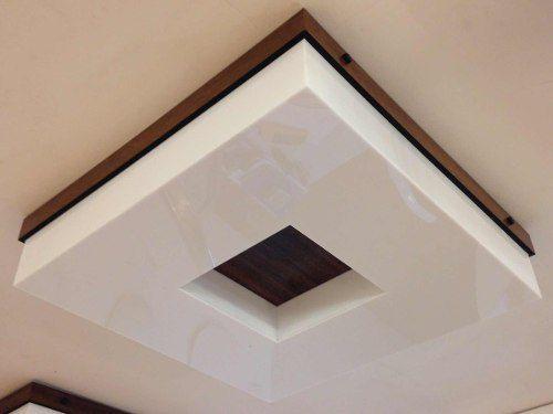 Plafon Madeira E Acrílico Quadrado 50x50 Para 4 Lampadas