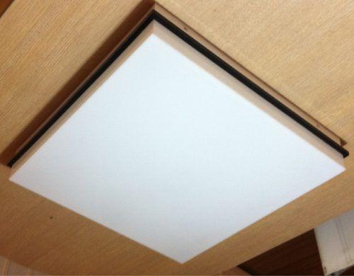 Luminária Plafon Acrílico C/ Detalhe Preto 50x50 C/ Lamp. Bf