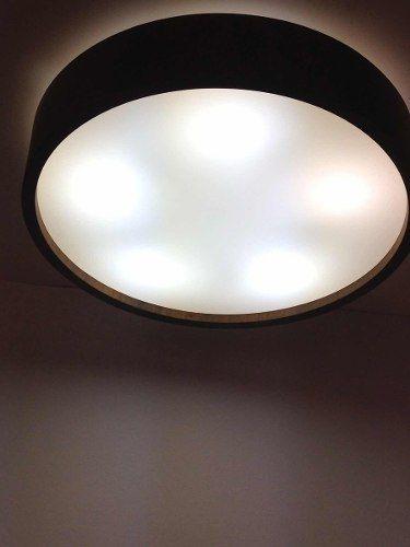 Luminária Plafon Madeira 5 Lâmpadas E-27