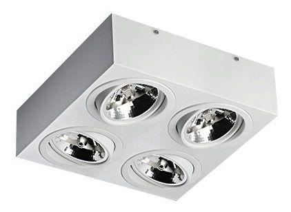 Luminária Plafon Sobrepor 4 Lampadas Ar111 Branco Itamonte